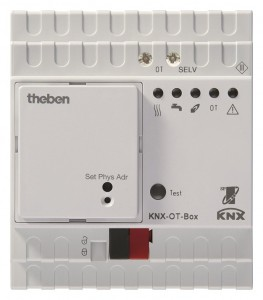 De OT-box is de module die het signaal van de KNX-thermostaat omzet naar OpenTherm.