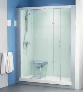 Op de plek van het bad kan een geprefabriceerde douchecabine staan.