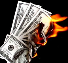 brandende dollars