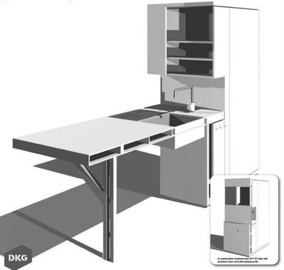 Een compacte unit waaruit een douchecabine én een keukenblok wordt ...