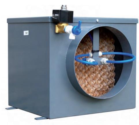 in grote adiabatische luchtbevochtigers voor industrile ventilatie units en heeft de techniek gebruikt om in de kleine unit homevap te stoppen